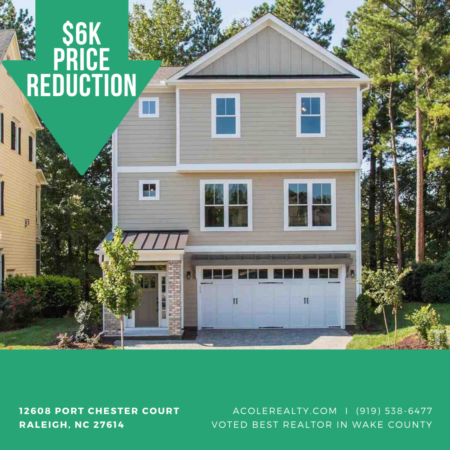 A $6k Price adjustment has just been made on 12608 Port Chester Court, Raleigh