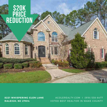 A $20k Price adjustment has just been made on 8221 Whispering Glen Lane, Raleigh