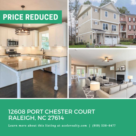 *PRICE REDUCTION* A Price adjustment has just been made on 12608 Port Chester Court, Raleigh