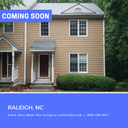 *COMING SOON* 3 Bedroom End Unit Townhome in North East Raleigh!