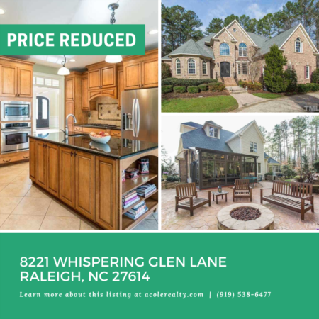 A $24,000 Price adjustment has just been made on 8221 Whispering Glen Lane, Raleigh
