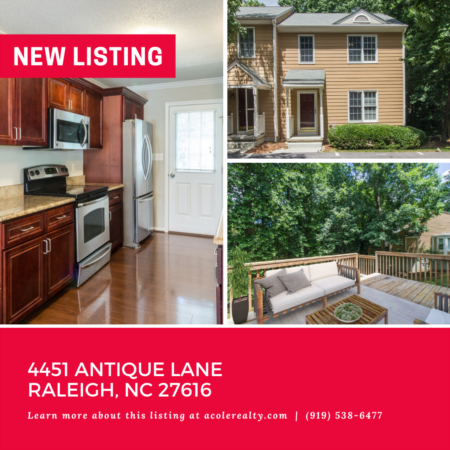 *NEW LISTING* 3 Bedroom End Unit Townhome in North East Raleigh!