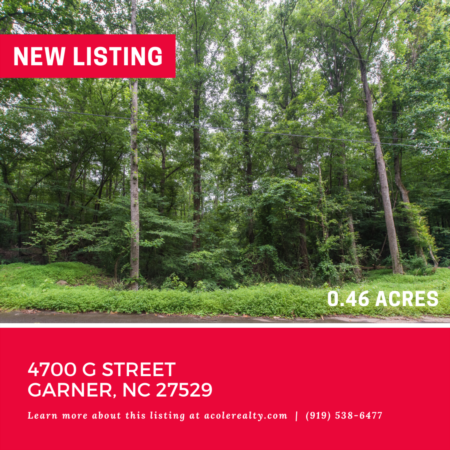 Vacant Lot in Garner! 4700 G Street, Garner: 0.46 acres