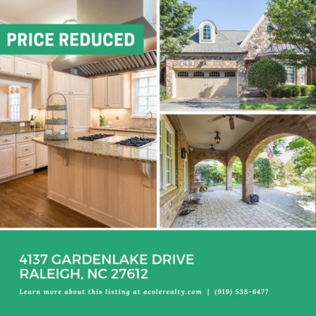 *PRICE REDUCTION* A $20,000 Price adjustment has just been made on 4137 Gardenlake Drive Raleigh, NC 27612!