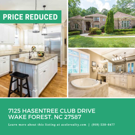 A $10,000 Price adjustment has just been made on 7125 Hasentree Club Drive, Wake Forest