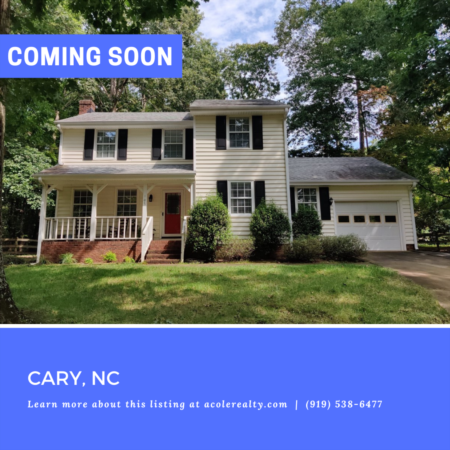 *COMING SOON* Excellent Cary Location! Cul-de-sac lot with with fenced backyard.