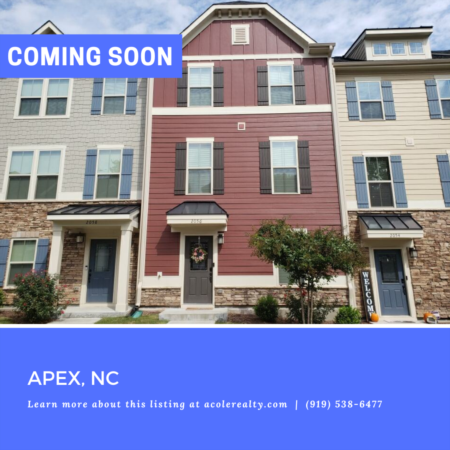 *COMING SOON* Townhome in Apex, NC!