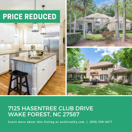 *PRICE REDUCTION* A $14,000 Price adjustment has just been made on 7125 Hasentree Club Drive, Wake Forest!