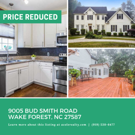 *PRICE REDUCTION*A Price adjustment has just been made on 9005 Bud Smith Road, Wake Forest!
