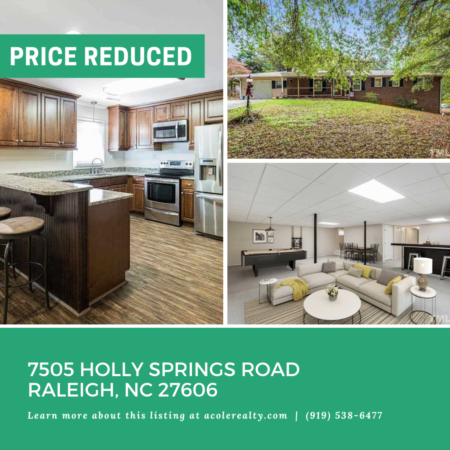 *PRICE REDUCTION* A Price adjustment has just been made on 7505 Holly Springs Road, Raleigh!