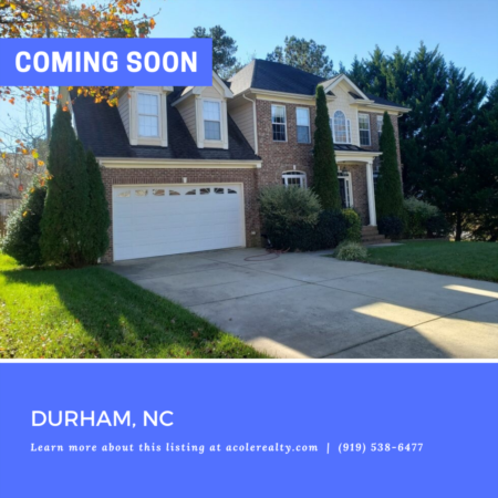 *COMING SOON*  Deep 2 car garage, fenced yard, convenient location to RDU, RTP, I-40, Duke, UNC, restaurants and shopping.