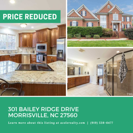 A $10,000 Price adjustment & new roof installed- on 301 Bailey Ridge Drive, Morrisville