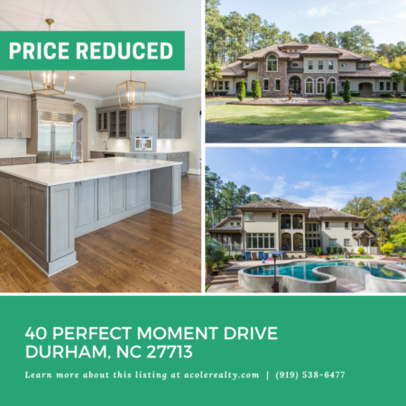 A $100,000 Price adjustment has just been made on 40 Perfect Moment Drive, Durham