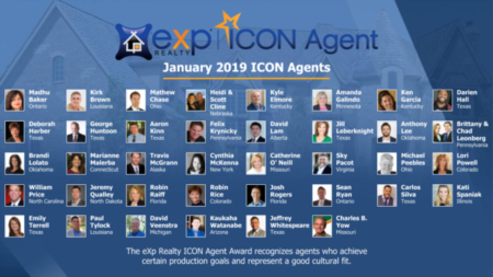 eXp Realty Announces January 2019 ICON Agents