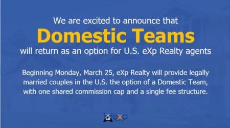Domestic Teams at eXp Realty SHARE one 16k Cap!