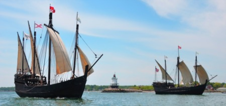 Columbus Replica Ships Docked in Louisville