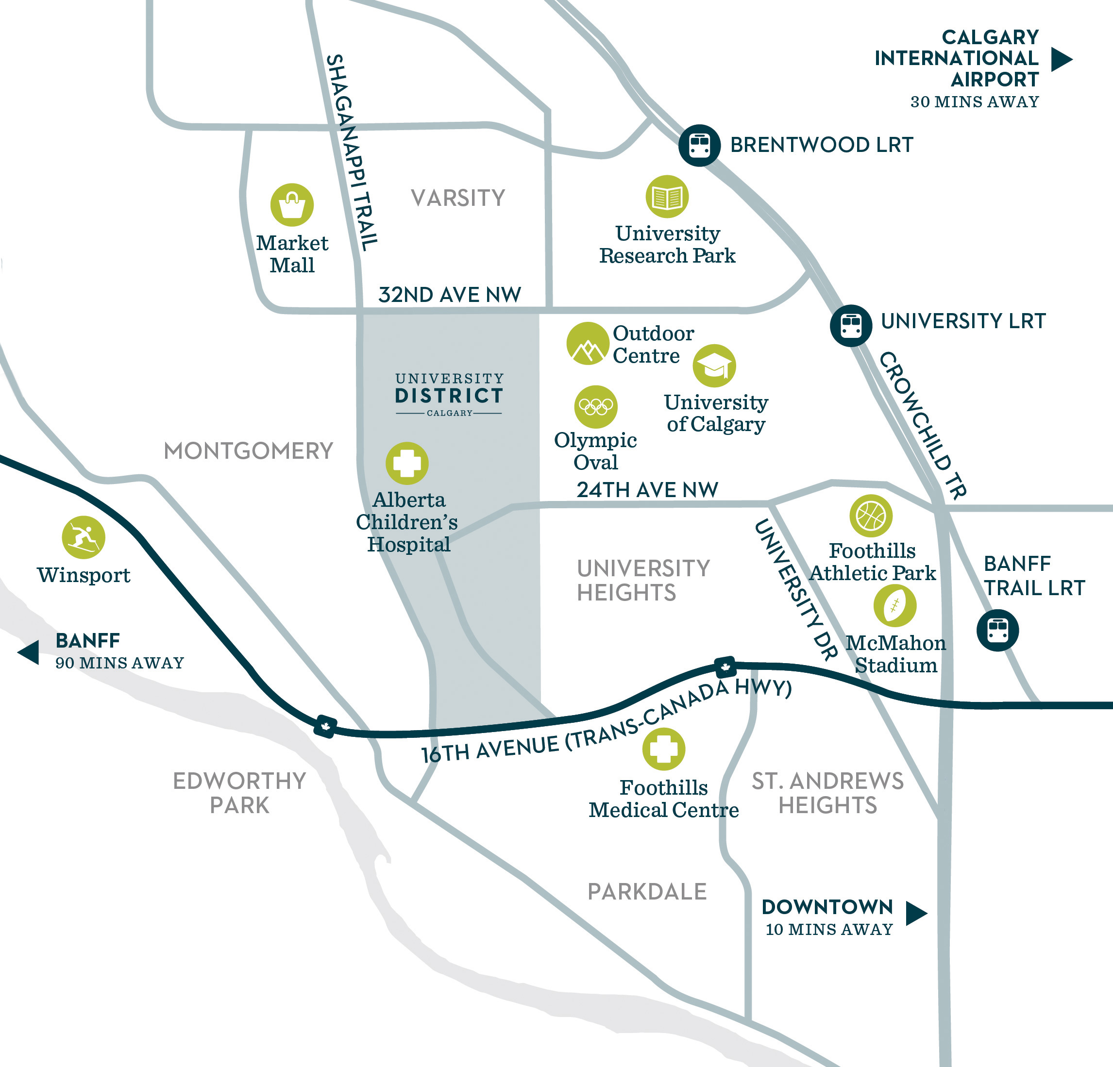 Map of University District Community amenities in NW Calgary