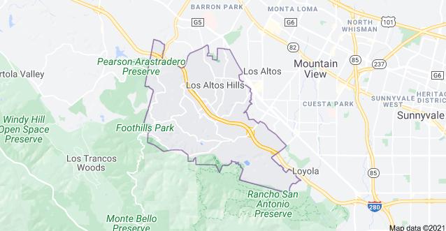 Map of Los Altos Hills Ca