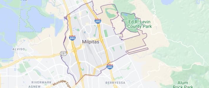 Map of Milpitas Ca