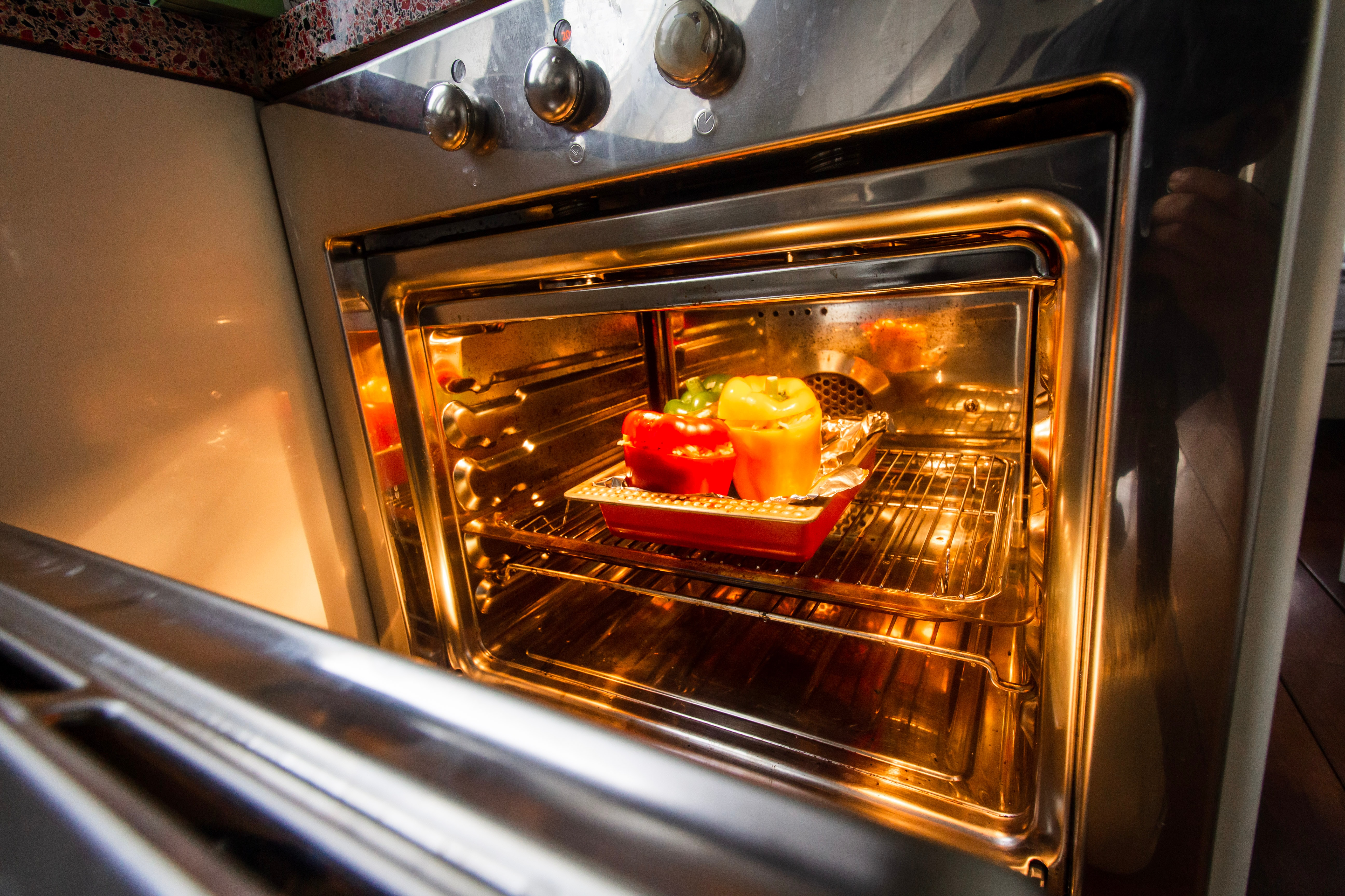 stainless steel oven with food
