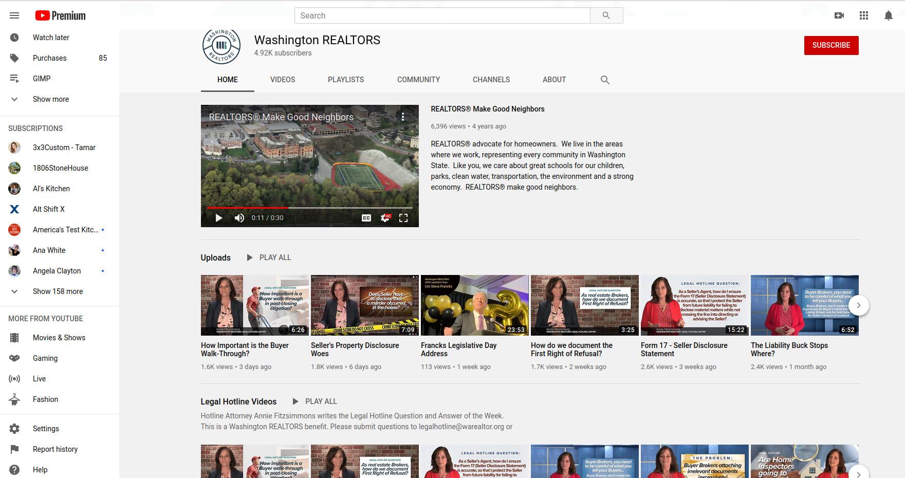WA Realtors' Legal Hotline YouTube Channel