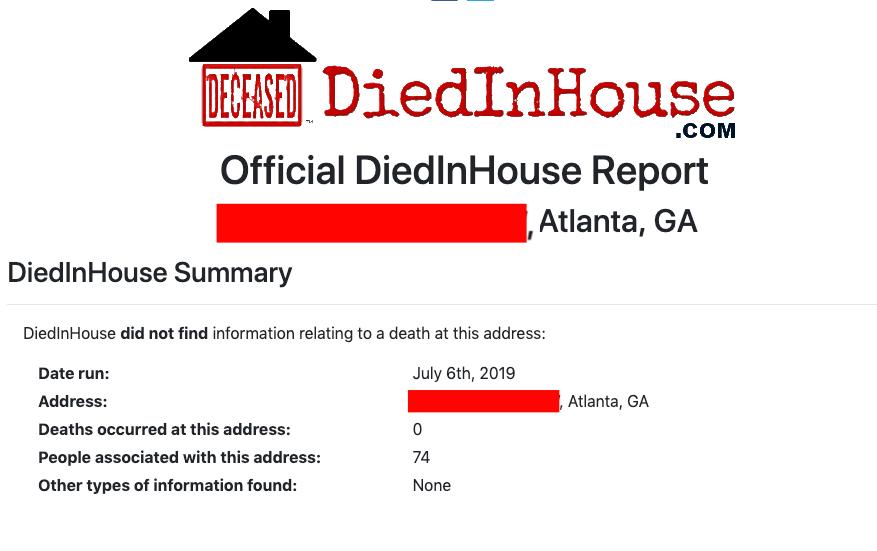 DiedInHouse Report