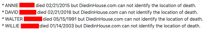DiedInHouse Report 2