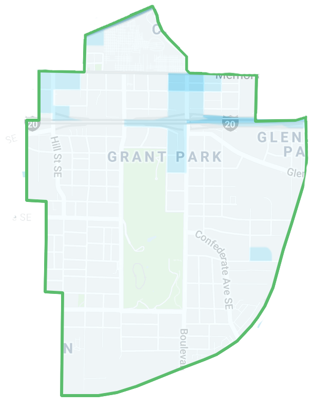 Heat map of crime in Grant Park