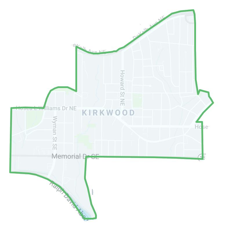 Heat map of crime in Kirkwood, Atlanta