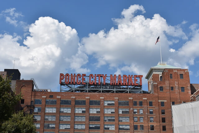 The Ponce City Market sign in Old Fourth Ward