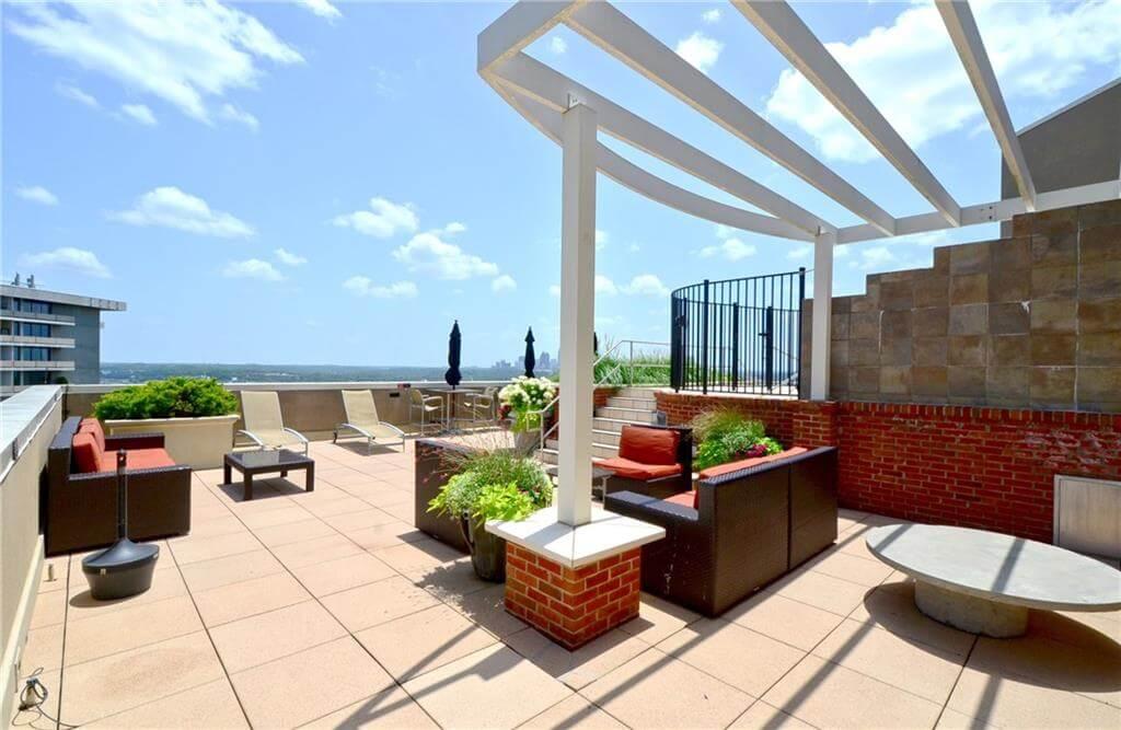Rooftop deck with views of Atlanta