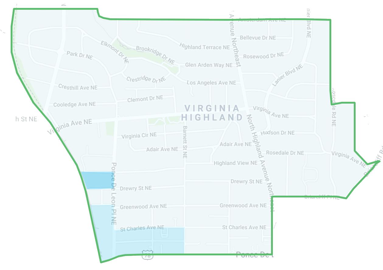Heat map of crime in Virginia-Highland, Atlanta