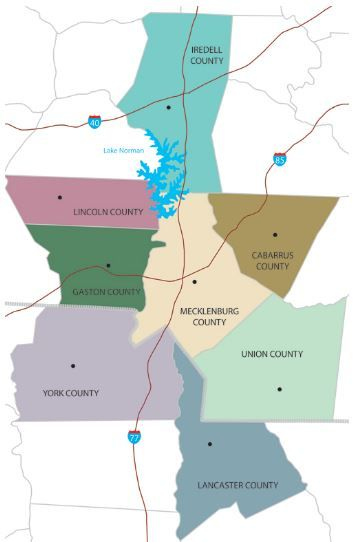 Map of Mecklenburg and Surrounding Counties