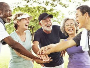 Retirees having fun at social gathering