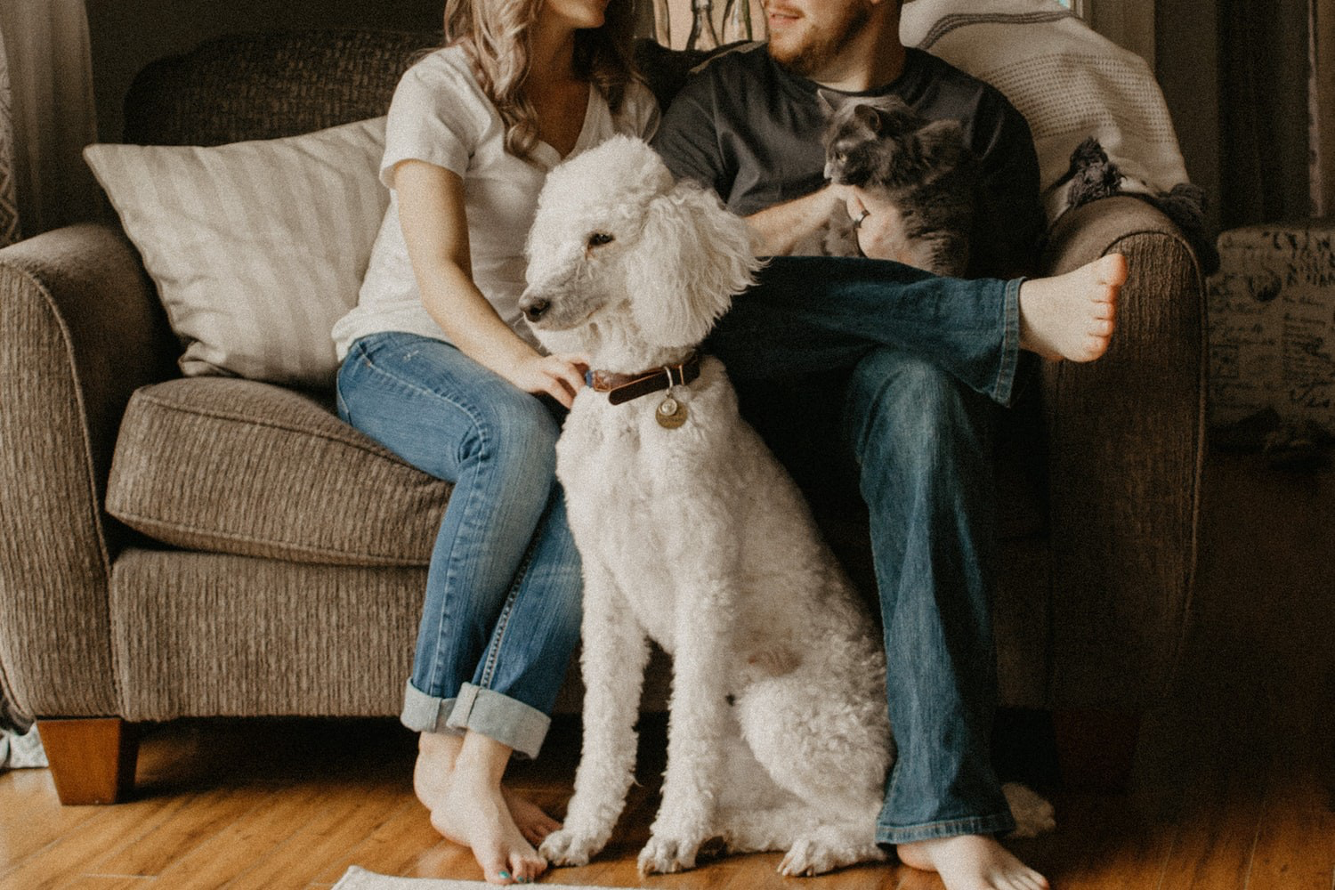 couple sitting with dog, family and dog, white fluffy dog, love