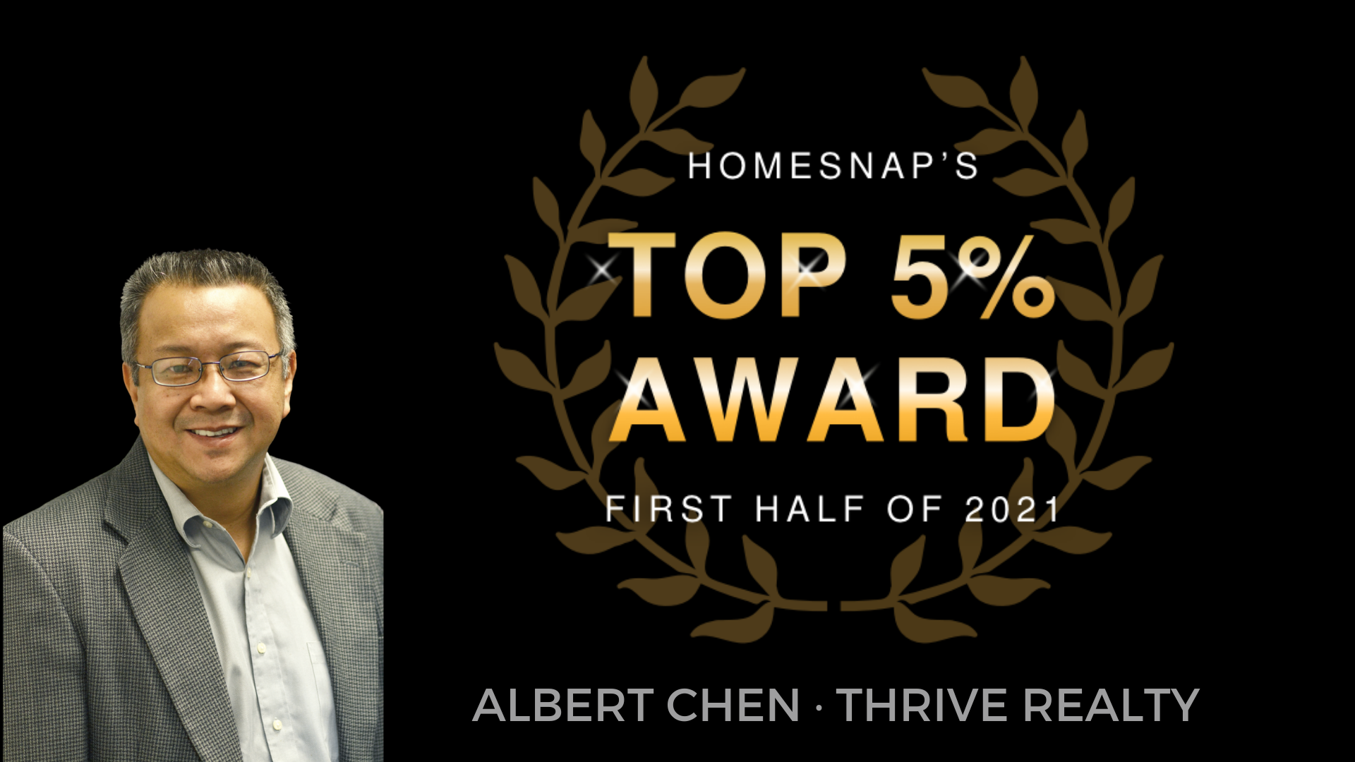 Albert Chen is awarded the Top 5% Homesnap recognition