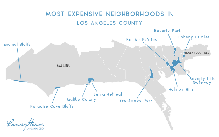 Most Expensive Neighborhoods in Los Angeles Map