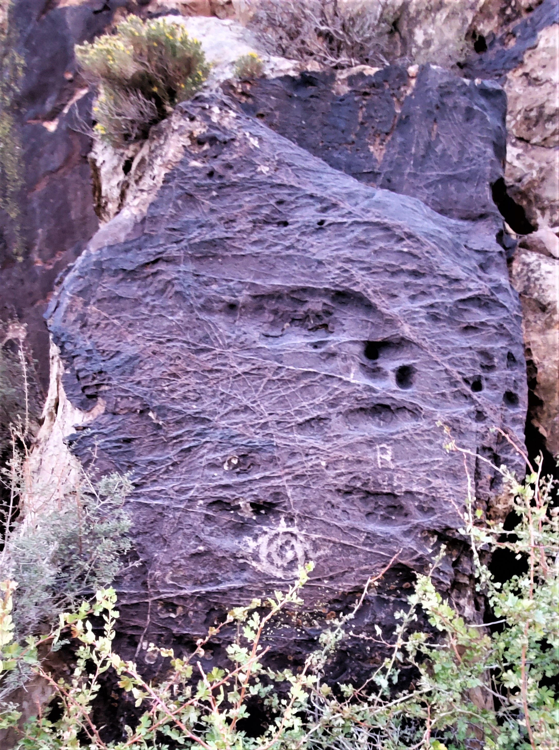 What appears to be an eye carved into the hard stone of Parowan Gap
