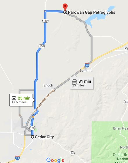 Map from Cedar City to Parowan Gap