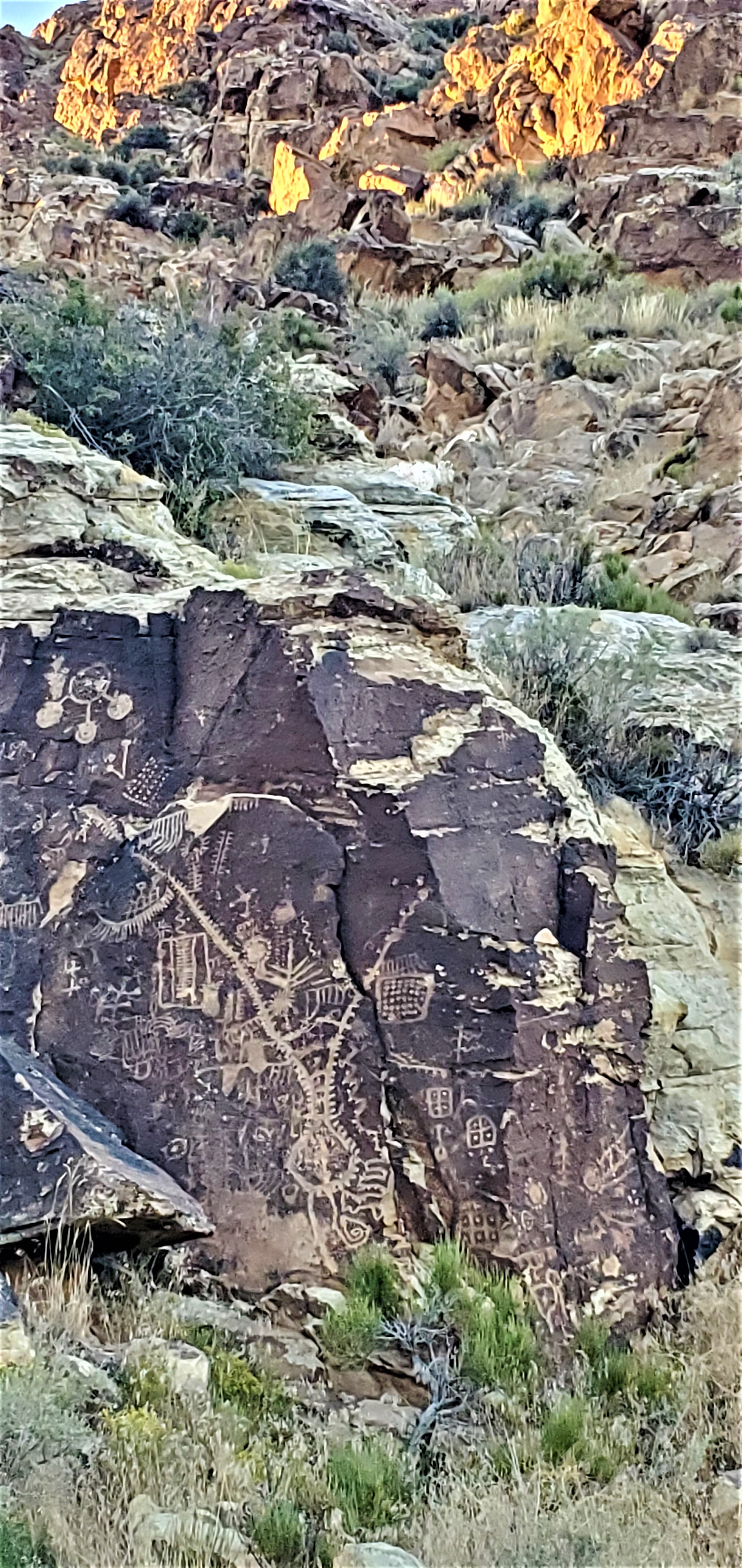 Petroglyphs created by Native Americans are believed to be a calendar at Parowan Gap, Utah