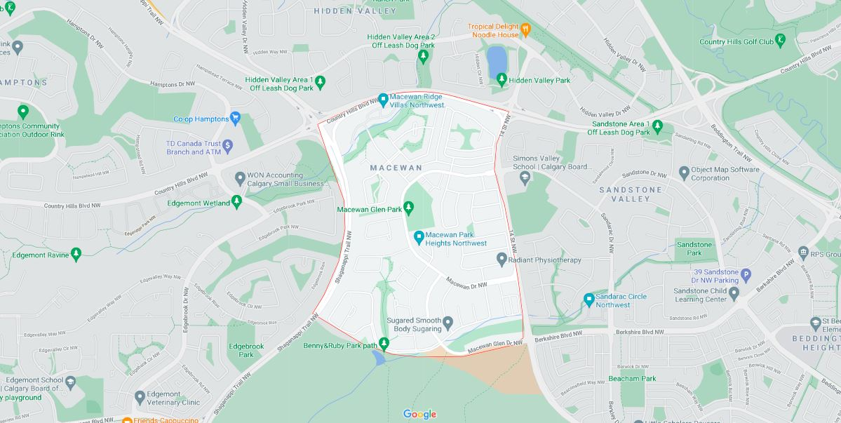 Map outlining the borders of Calgary neighbourhood, MacEwan Glen