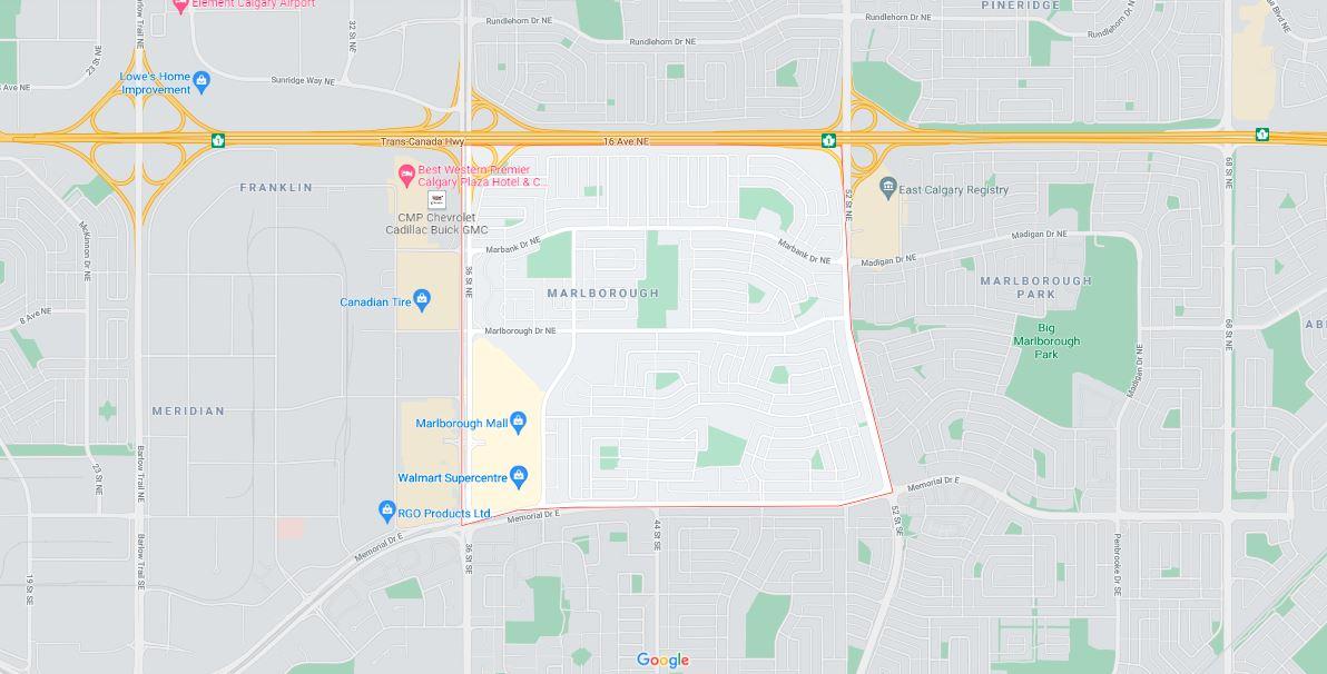 Map outlining the borders of Calgary neighbourhood Marlborough