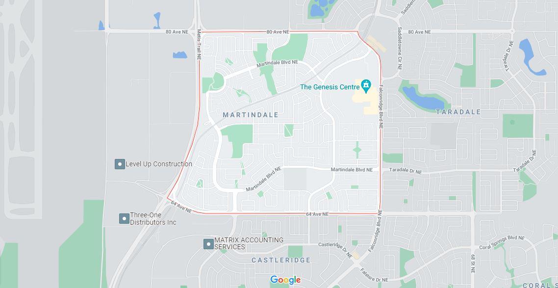 Map outlining the borders of Calgary neighbourhood Martindale