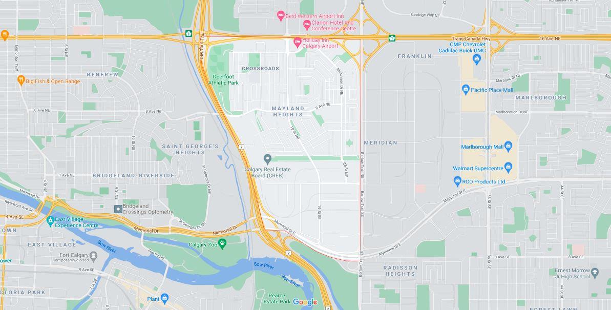Map outlining the borders of Calgary neighbourhood Mayland Heights
