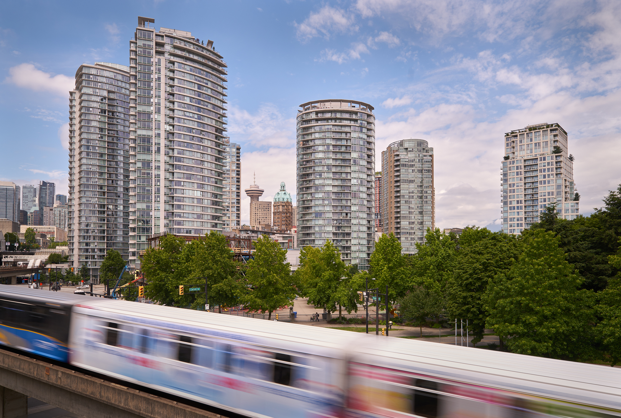 skytrain entering downtown Vancouver