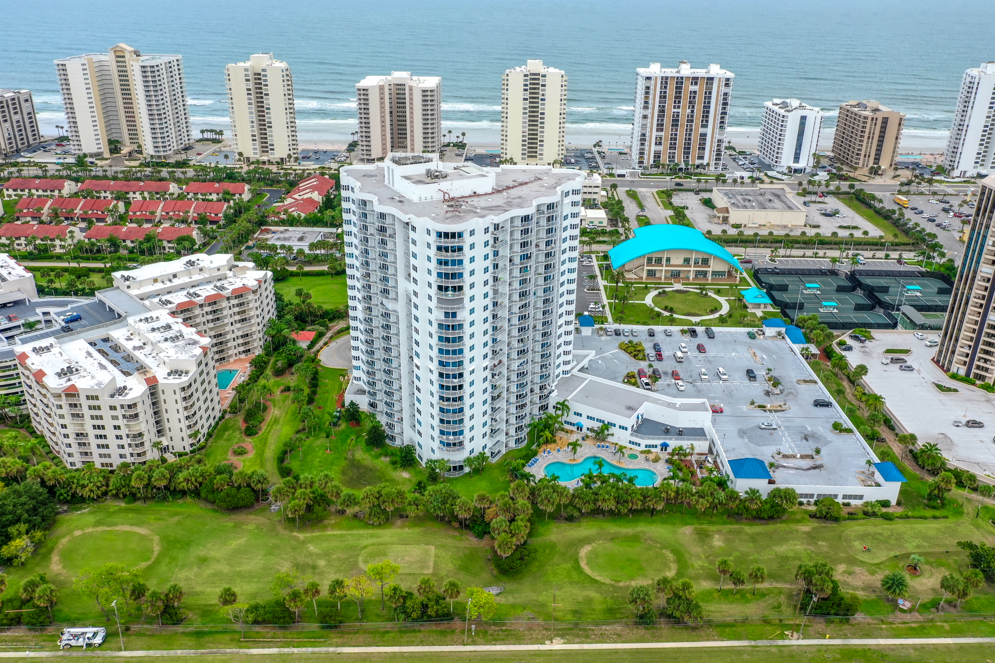 Photo of oceanfront condo buildings