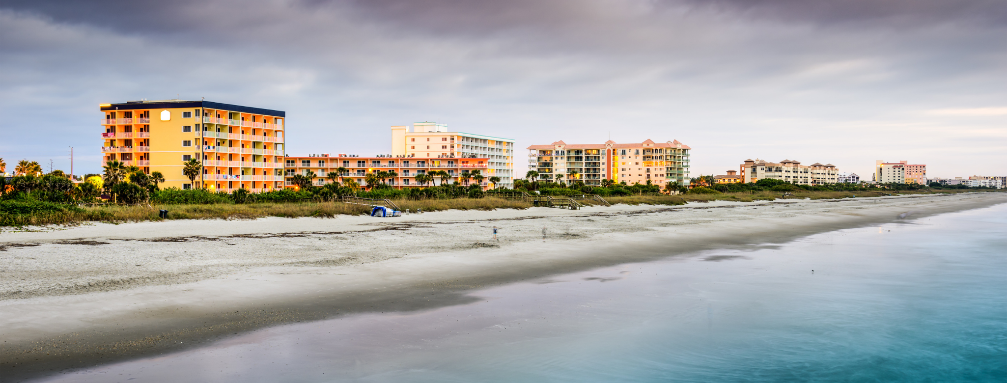 photo of condos along Cocoa Beach, FL