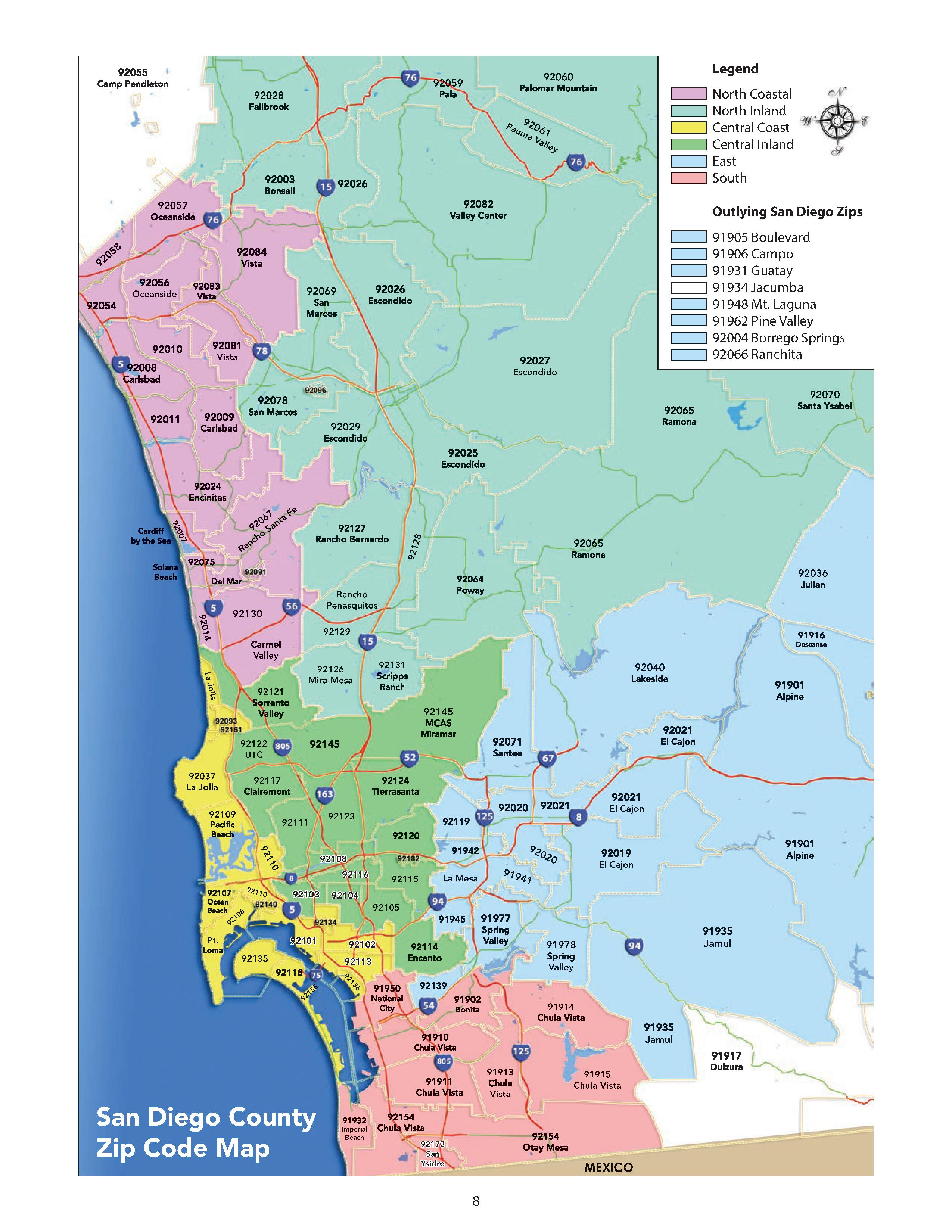 San Diego County Zip Code Map