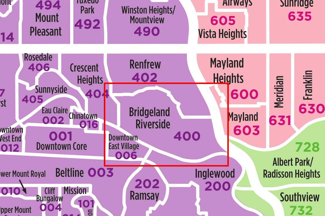 Bridgeland Calgary Map