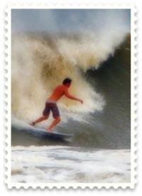 Surfer at Isle of Palms during Hurricane Irene